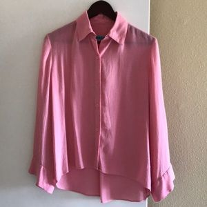 Alice and Olivia pink silky blouse